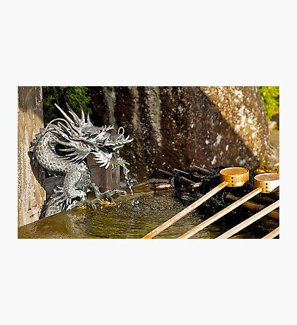 Japanese temple, water dragon, water fountain.  Photographic Print