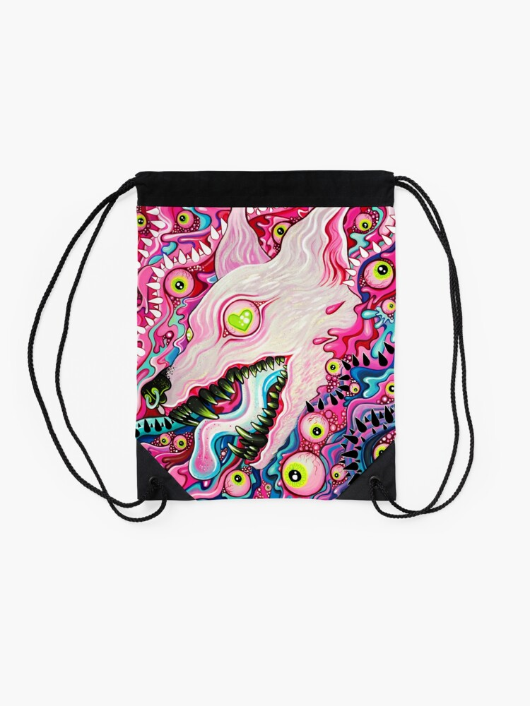 Alternate view of Glitterwolf Acrylic Painting Drawstring Bag