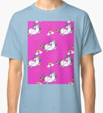 Leaping Unicorns and Rainbows on Pink Classic T-Shirt