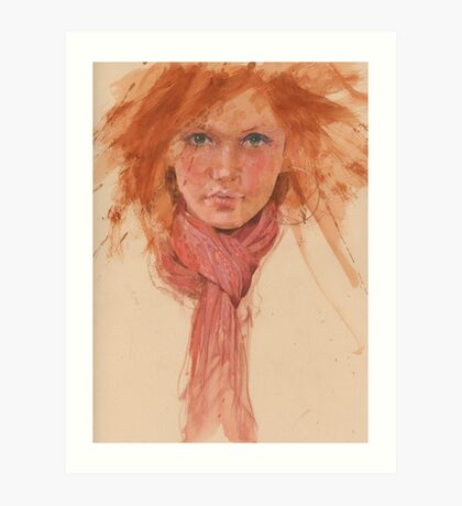 red hair and scarve Art Print