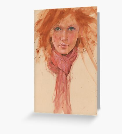red hair and scarve Greeting Card
