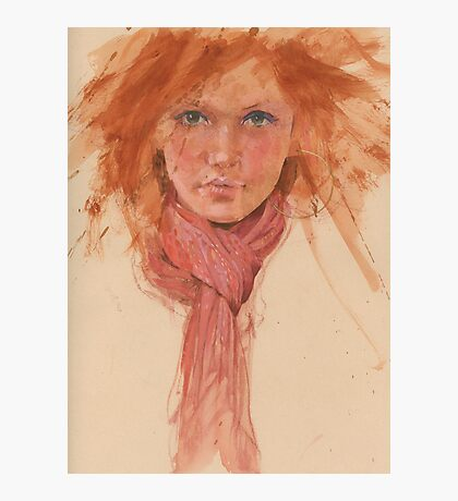 red hair and scarve Photographic Print