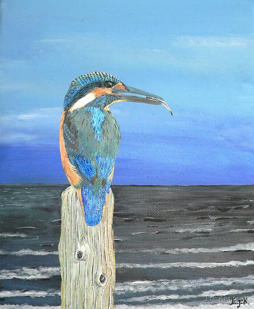 Fishing post, Kingfisher of Eftalou. by Eric Kempson