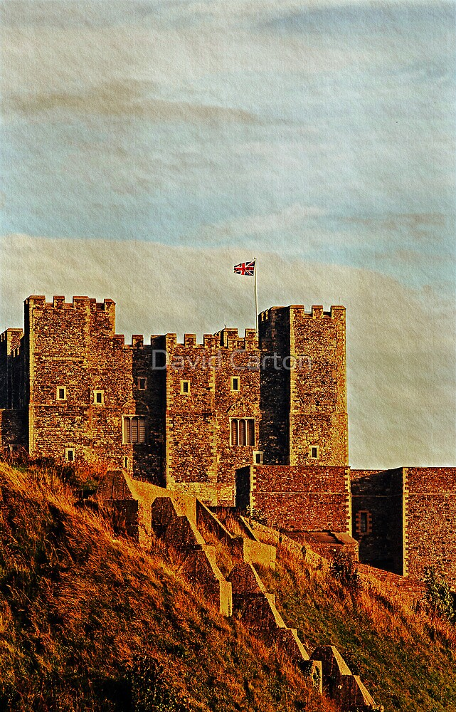 Dover Castle in late evening sunlight by David Carton