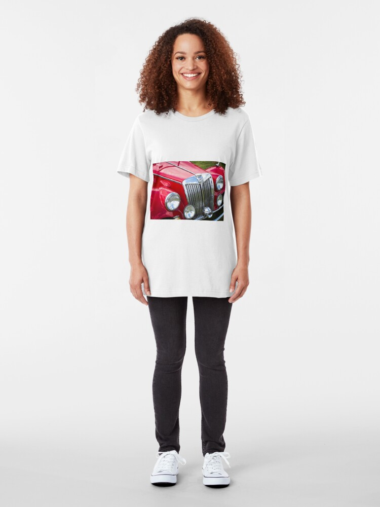 Alternate view of Red MGA Vintage Classic Sports Car Slim Fit T-Shirt