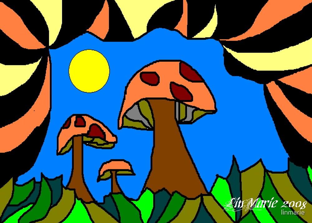 painted mushrooms by linmarie