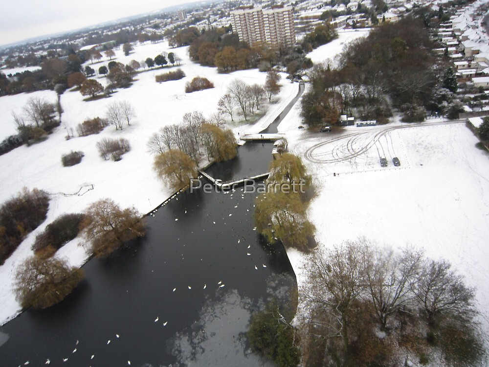 Snowy Hornchurch from Above by Peter Barrett