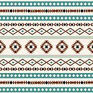 Aztec Teal Terracotta Black Cream Mixed Pattern by NataliePaskell