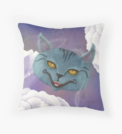 Cheshire Cat, Roses, and Suits - Square Image Throw Pillow