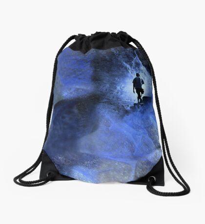 Blue cave Drawstring Bag