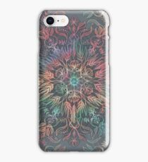 Winter Sunset Mandala in Charcoal, Mint and Melon iPhone Case/Skin