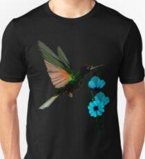 Green Hummingbird-Blue Flowers Unisex T-Shirt