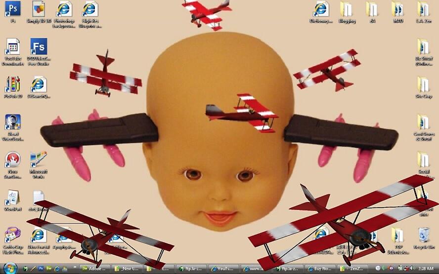 Cyborg Baby Air Brigade Desktop Background Biplane Air Show Escape Routine by zen9000