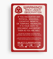 SCP Foundation Red WARNING Signage - Red Background Metal Print
