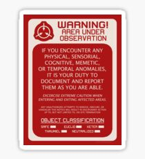 SCP Foundation Red WARNING Signage - Red Background Sticker