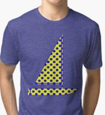 Yellow With Blue Polka Dots Tri-blend T-Shirt