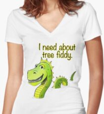 Loch Ness Monster Tree Fiddy Women's Fitted V-Neck T-Shirt