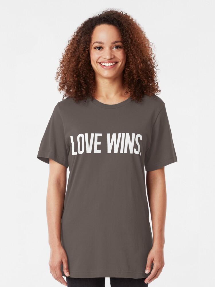 Alternate view of LOVE WINS. Slim Fit T-Shirt