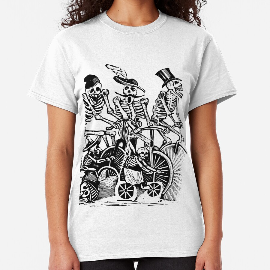 Calavera Cyclists   Day of the Dead   Dia de los Muertos   Skulls and Skeletons   Vintage Skeletons   Black and White    Classic T-Shirt