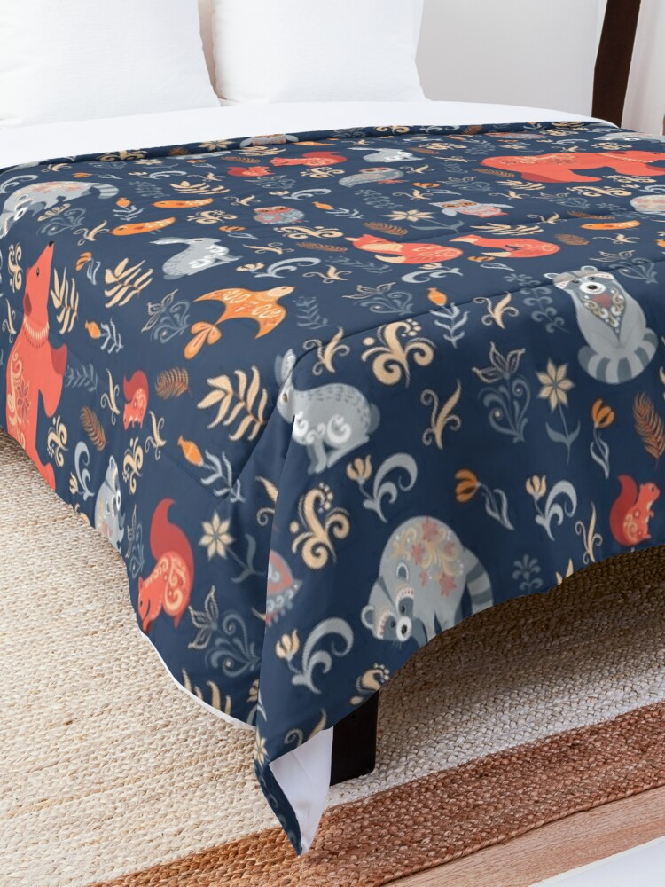 Alternate view of Fairy-tale forest. Fox, bear, raccoon, owls, rabbits, flowers and herbs on a blue background. Comforter