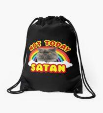 Funny Satan Cat Not Today Grumpy Death Metal Rainbow Drawstring Bag