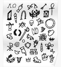 Cemetery Symbology (White) Poster