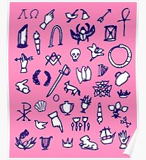 Cemetery Symbology (Pink) Poster