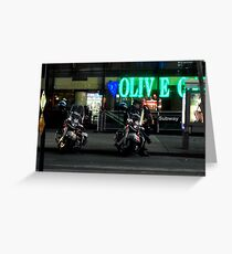 Cops Outside of Olive Garden by the Subway, New York Greeting Card