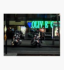 Cops Outside of Olive Garden by the Subway, New York Photographic Print