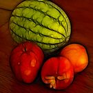 Melon and Apple and Two Nectarines by Francine Dufour Jones