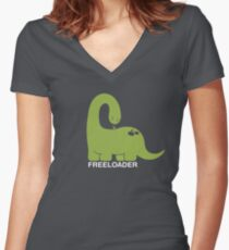 Freeloader - Dinosaur and Bird Women's Fitted V-Neck T-Shirt