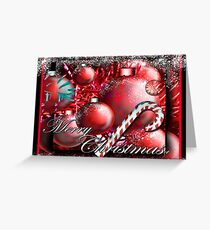 """Candy Cane & Ornaments"" Christmas Card Greeting Card"