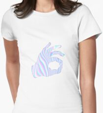 Holographic Ok Emoji Hand Womens Fitted T-Shirt