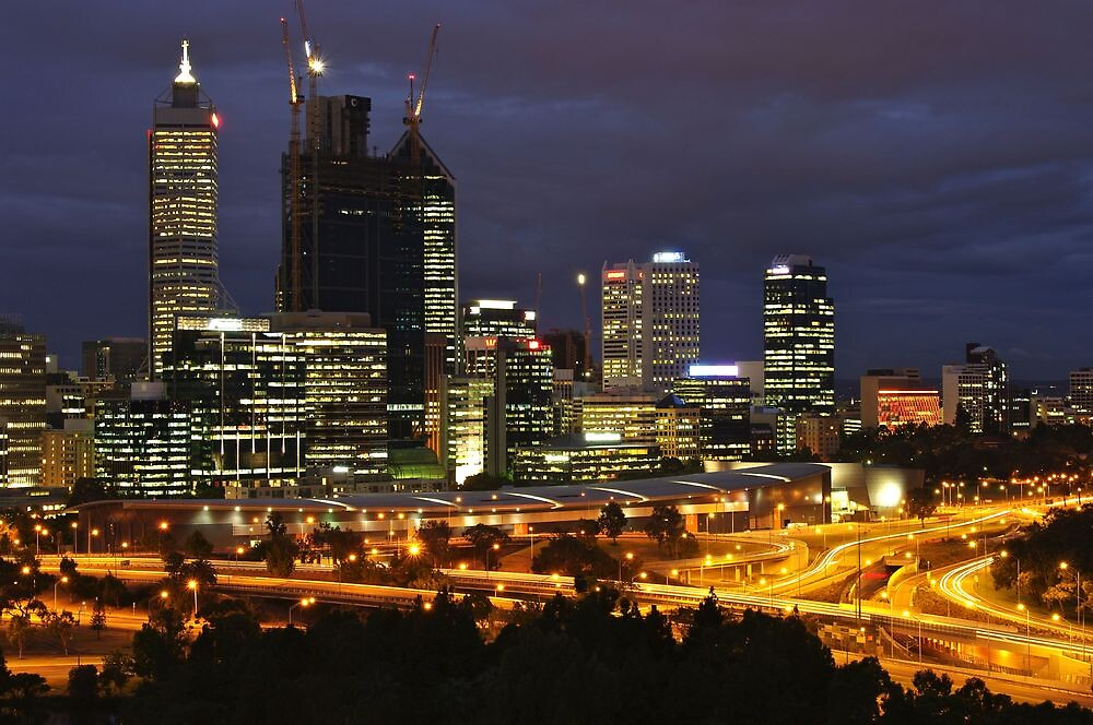 Perth skyline from Kings Park at sunset by Valimages