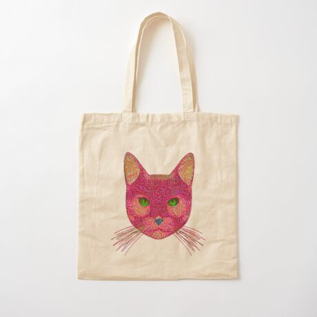 Rose Hungry Cat Cotton Tote Bag