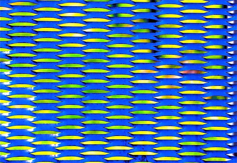 blue geometry industrial art by gary kurzer