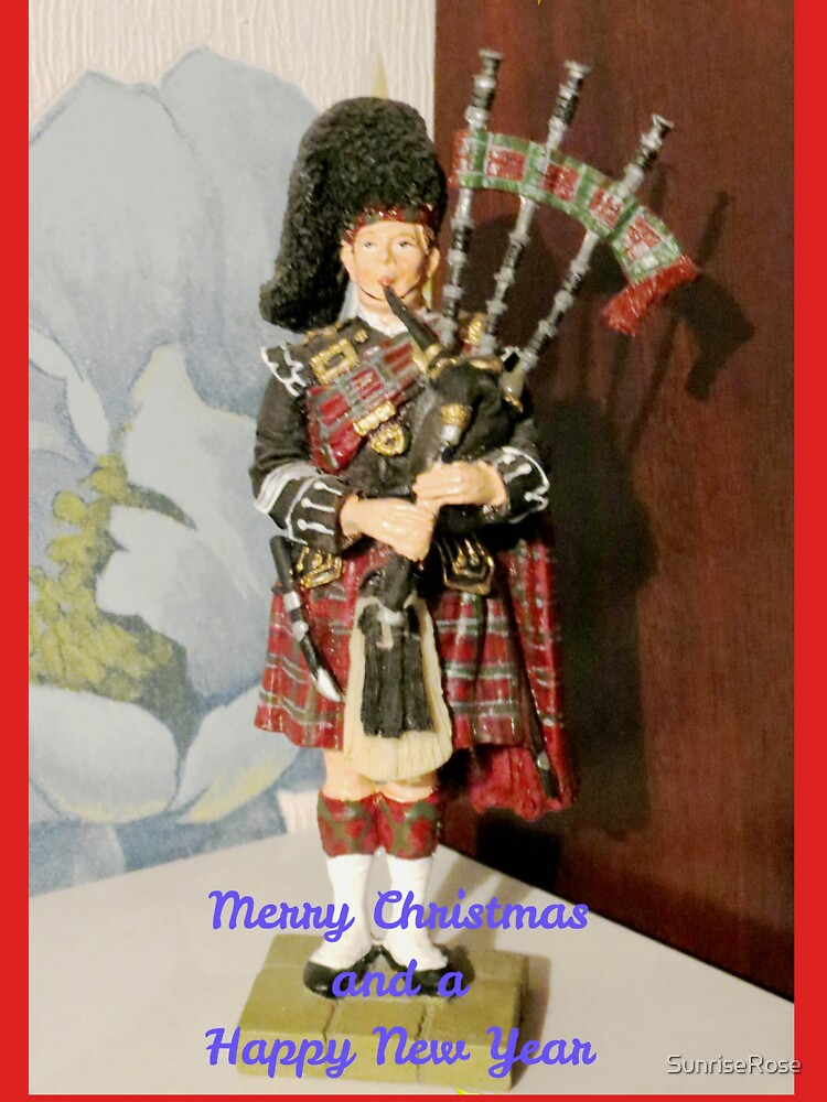 scottish piper christmas and new year card by sunriserose