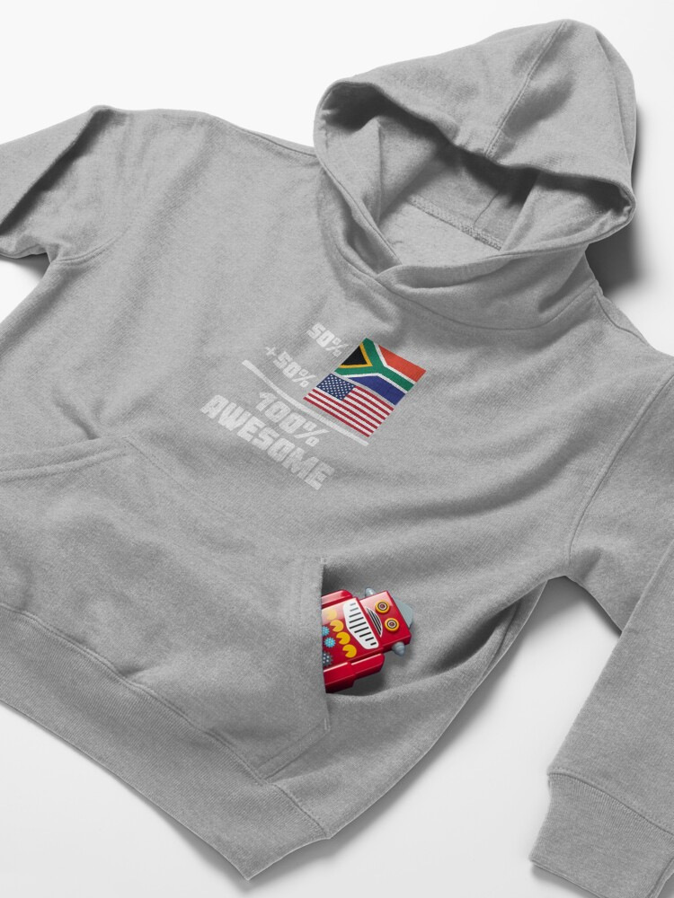 Alternate view of 50% South African 50% American 100% Awesome Funny Flag Kids Pullover Hoodie