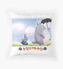 My Family Totoro Throw Pillow