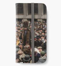 British Suffragette Emmeline Pankhurst addressing crowd on Wall Street, New York in 1911 iPhone Wallet/Case/Skin