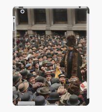 British Suffragette Emmeline Pankhurst addressing crowd on Wall Street, New York in 1911 iPad Case/Skin
