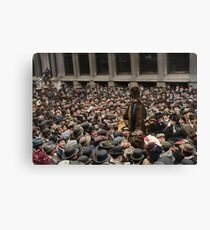 British Suffragette Emmeline Pankhurst addressing crowd on Wall Street, New York in 1911 Canvas Print