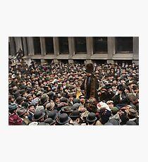 British Suffragette Emmeline Pankhurst addressing crowd on Wall Street, New York in 1911 Photographic Print