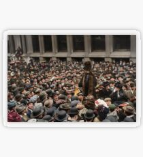 British Suffragette Emmeline Pankhurst addressing crowd on Wall Street, New York in 1911 Transparent Sticker
