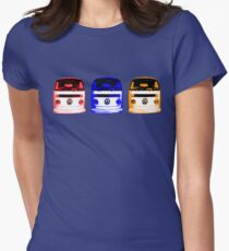 VW Kombi - Red Blue Orange Womens Fitted T-Shirt