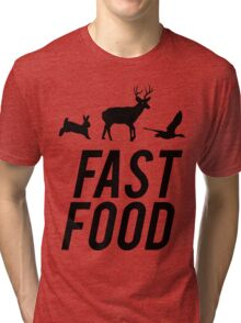 Fast Food Deer Hunter Venison Tri-blend T-Shirt