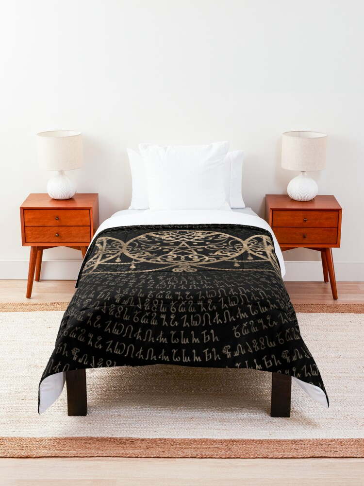 Alternate view of Triple Moon - Triple Goddess Gold and black Comforter
