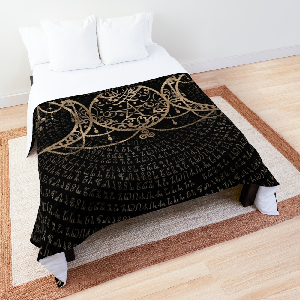 Triple Moon - Triple Goddess Gold and black Comforter