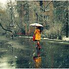 A girl in a yellow coat by Iuliia Dumnova