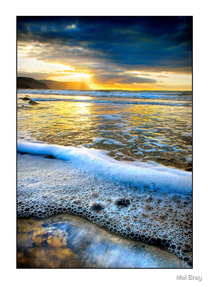 Sunset at the West Shore Beach Llandudno by Mal Bray